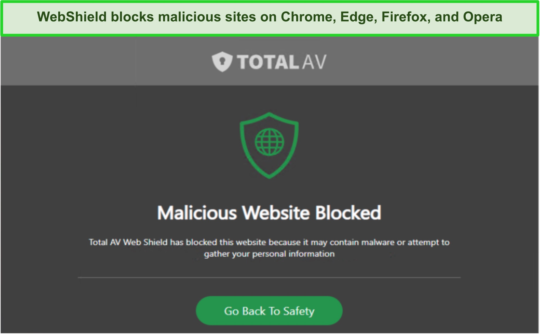 Screenshot of TotalAV's WebShield blocking access to a malicious site
