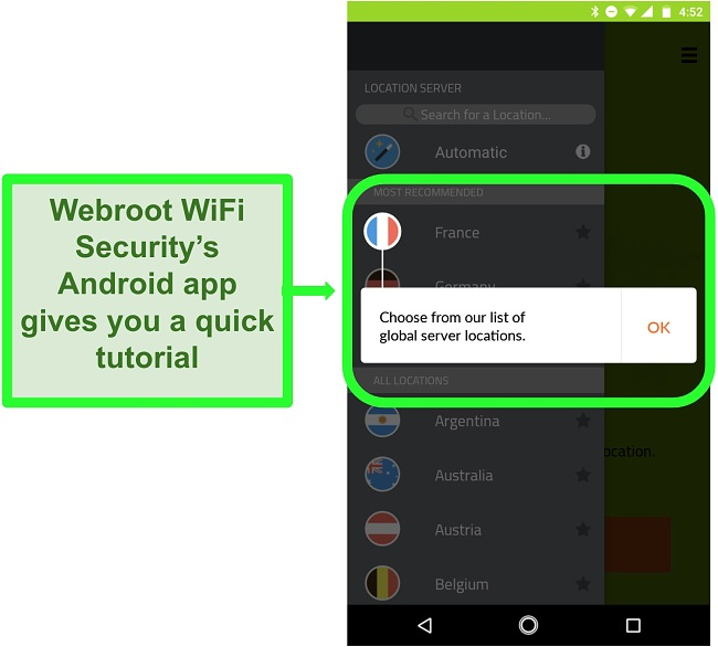 Screenshot of Webroot WiFi Security's Android app giving a user turotial