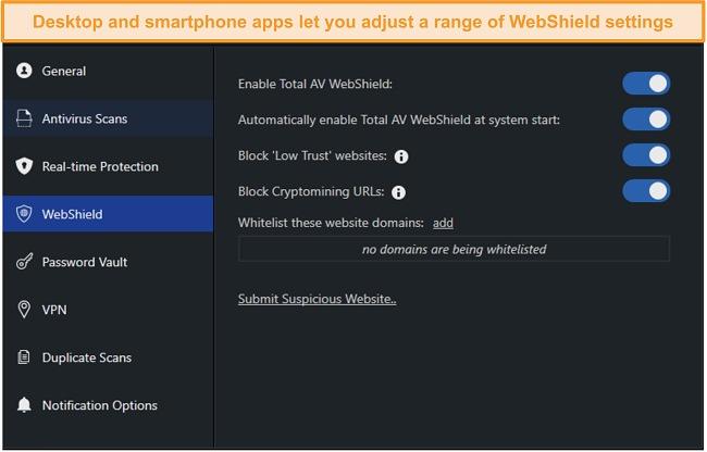 Screenshot of WebShield settings on TotalAV's desktop app