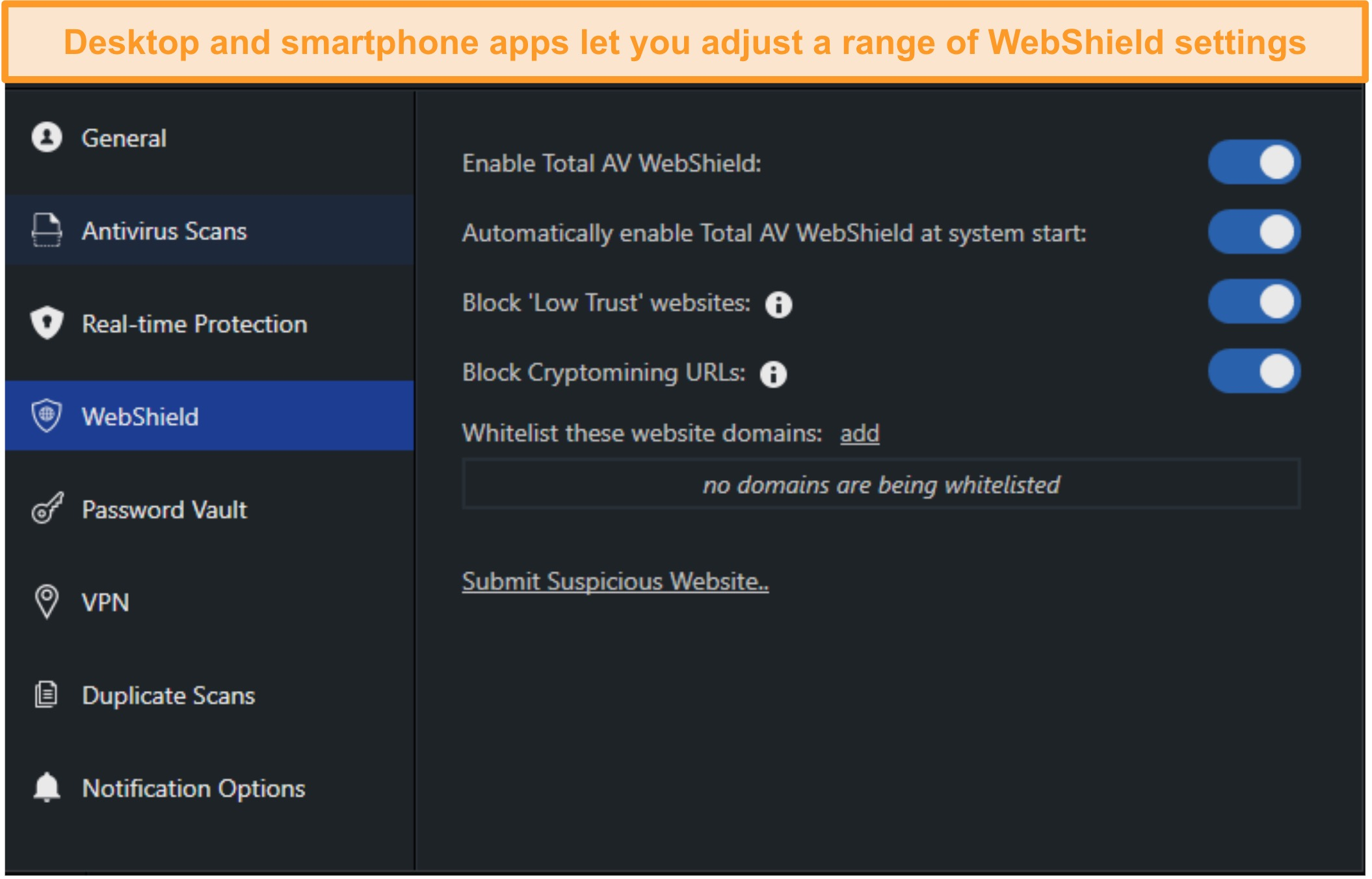 Screenshot of WebShield settings on TotalAV's desktop app
