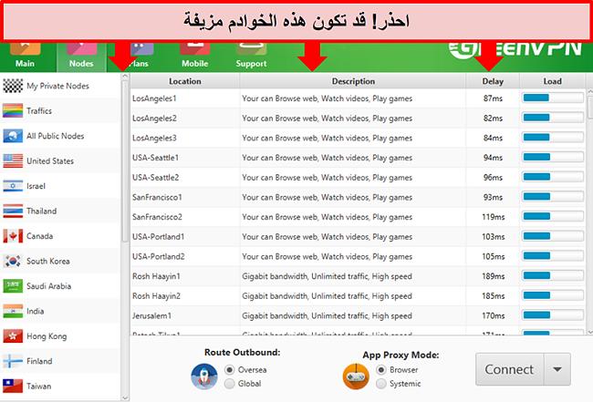 لقطة شاشة لواجهة GreenVPN تعرض قائمة بالخوادم
