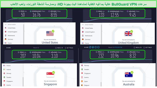 لقطة شاشة لمواقع خوادم الولايات المتحدة والمملكة المتحدة وسنغافورة وأستراليا وسرعاتها.