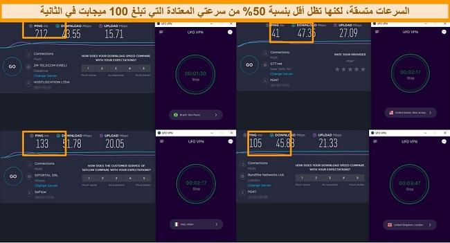 لقطة شاشة لنتائج اختبار السرعة التي تعرض سرعات خوادم UFO VPN في 4 قارات مختلفة