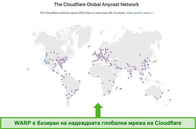 Екранна снимка, показваща Cloudflare, компанията майка на Warp, глобалната мрежа и как тя увеличава скоростта на WARP