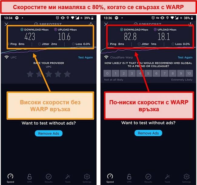 Екранна снимка на тест за скорост с по-ниски скорости с 80% с помощта на WARP