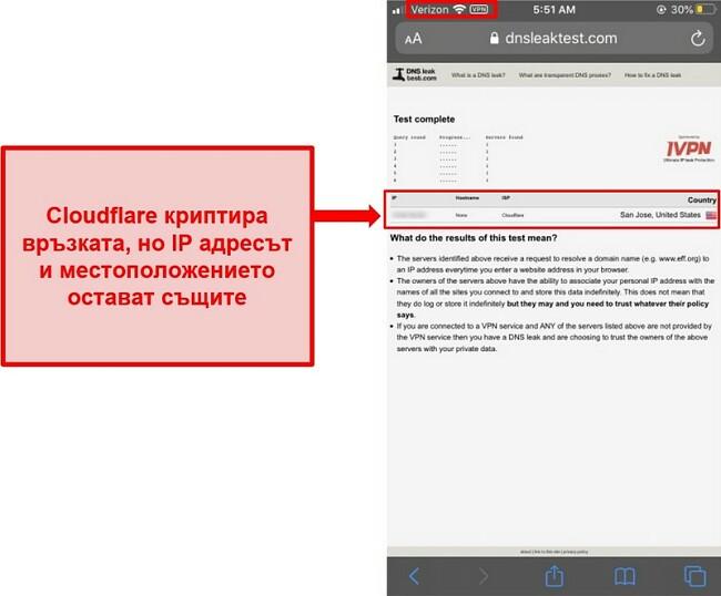 Екранна снимка на резултата от теста за изтичане на IP и DNS на WARP на Cloudflare - той не премина, тъй като не замества адресите на потребителите.