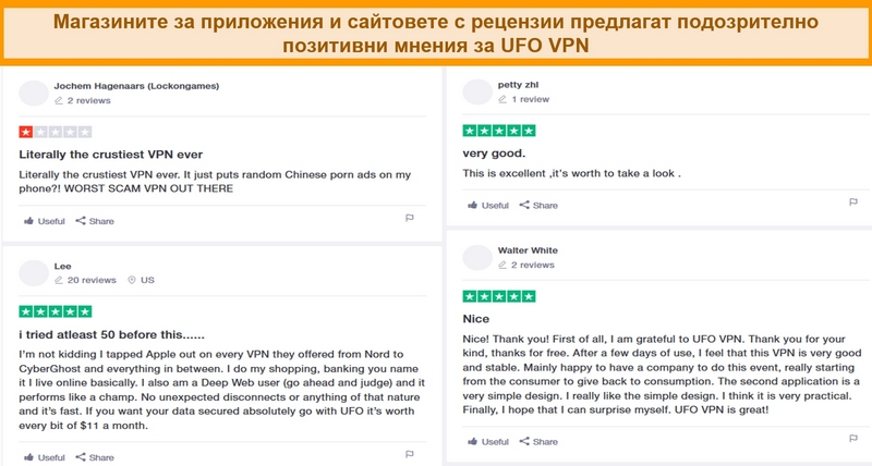 Екранна снимка на UFO VPN рецензии на Trustpilot.com