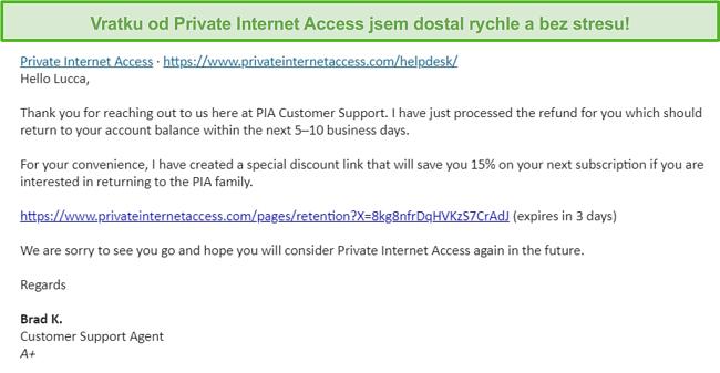 Snímek obrazovky e-mailu ze soukromého přístupu k internetu, který má žádost o vrácení peněz schválenou v rámci 30denní záruky vrácení peněz