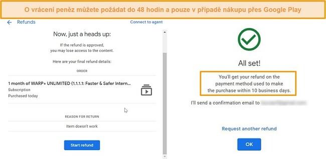 Screenshoty procesu vrácení peněz WARP Google