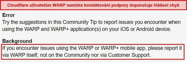 Screenshot s informacemi o zákaznické podpoře WARP společnosti Cloudflare informující uživatele, aby aplikaci používali pouze k řešení problémů s podporou.