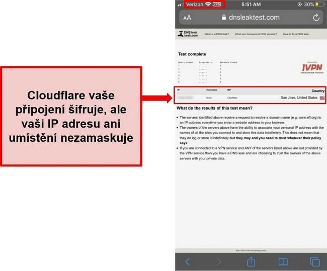 Screenshot výsledku testu úniku WARP IP a DNS Cloudflare - neprošel, protože nenahrazuje adresy uživatelů.