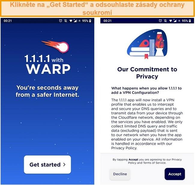 Screenshot zobrazující nastavení WARP při spuštění aplikace