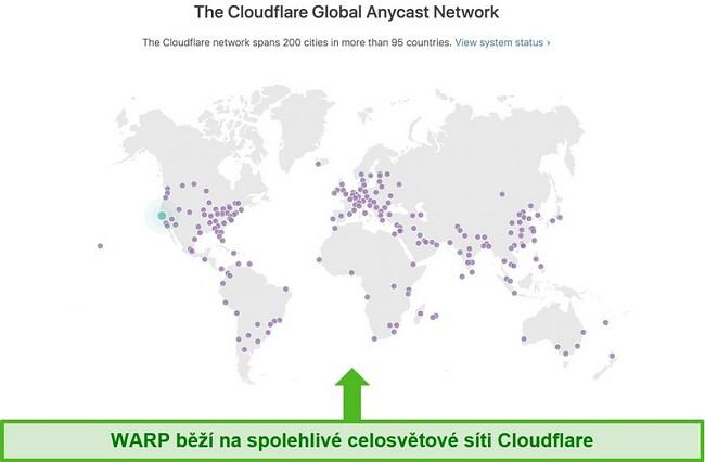 Screenshot zobrazující Cloudflare, mateřskou společnost Warpu, globální síť a jak zvyšuje rychlost WARP