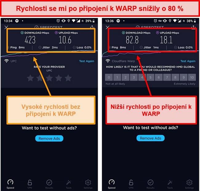 Screenshot testu rychlosti s nižší rychlostí o 80% pomocí WARP