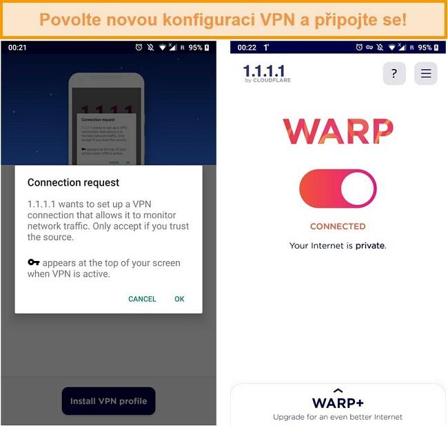 Screenshot z konfigurací WARP VPN pro nastavení na iPhone
