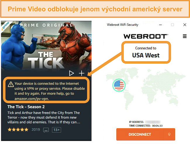 Screenshot chyby proxy serveru Amazon Prime Video při připojení k serveru Webroot WiFi Security na západě USA