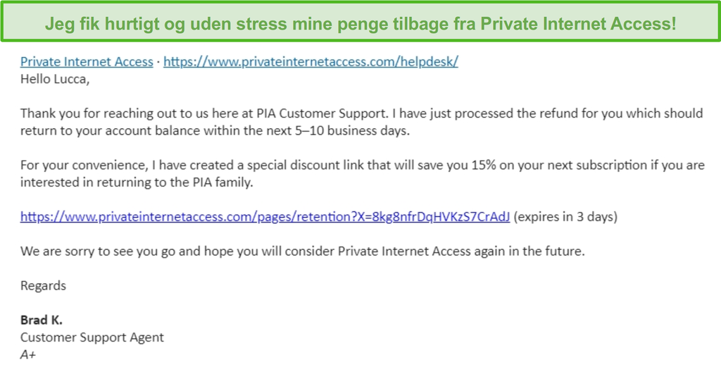 Skærmbillede af en e-mail fra Privat internetadgang, der har en refusionsanmodning godkendt under 30-dages pengene-tilbage-garanti
