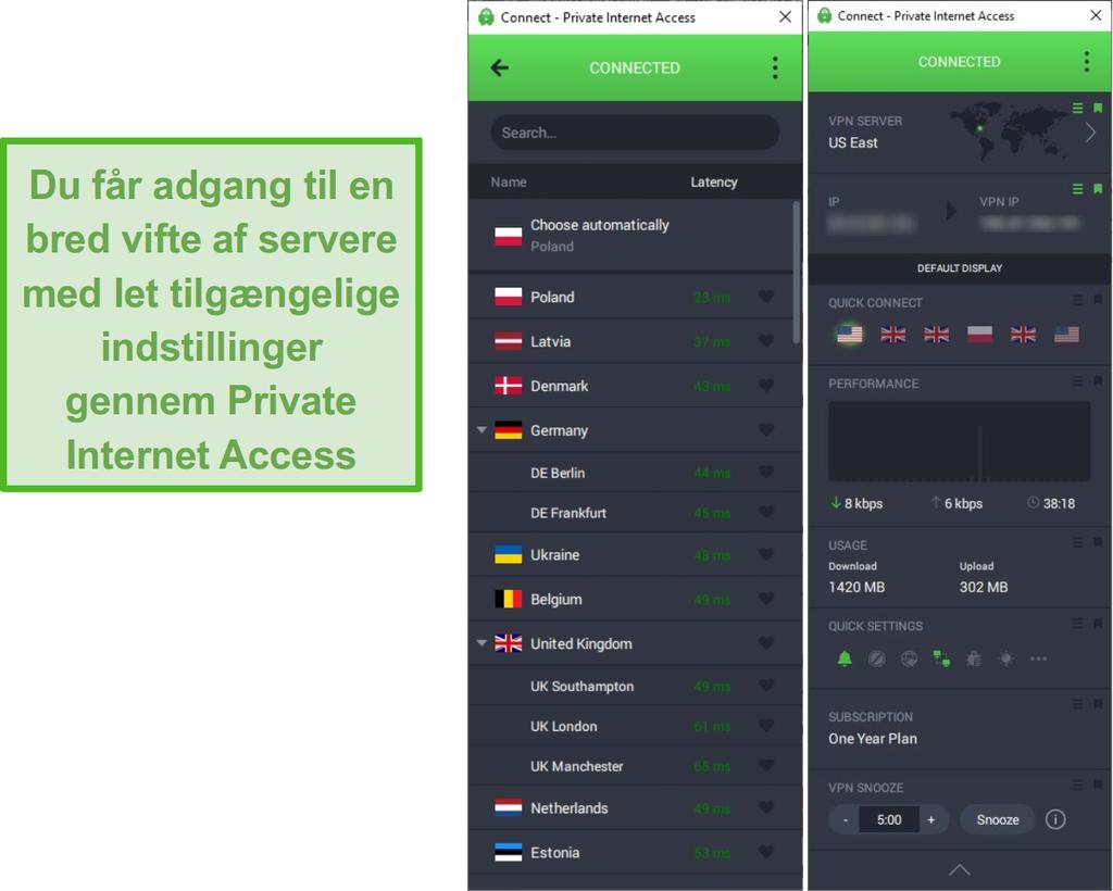 Skærmbillede, der viser den private Internet Access-serverliste, mens den er tilsluttet den amerikanske østserver