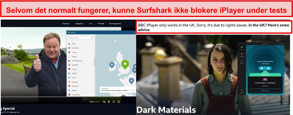 Skærmbillede af NordVPN med succes fjernelse af blokering af BBC iPlayer og Surfshark, der ikke gjorde det.