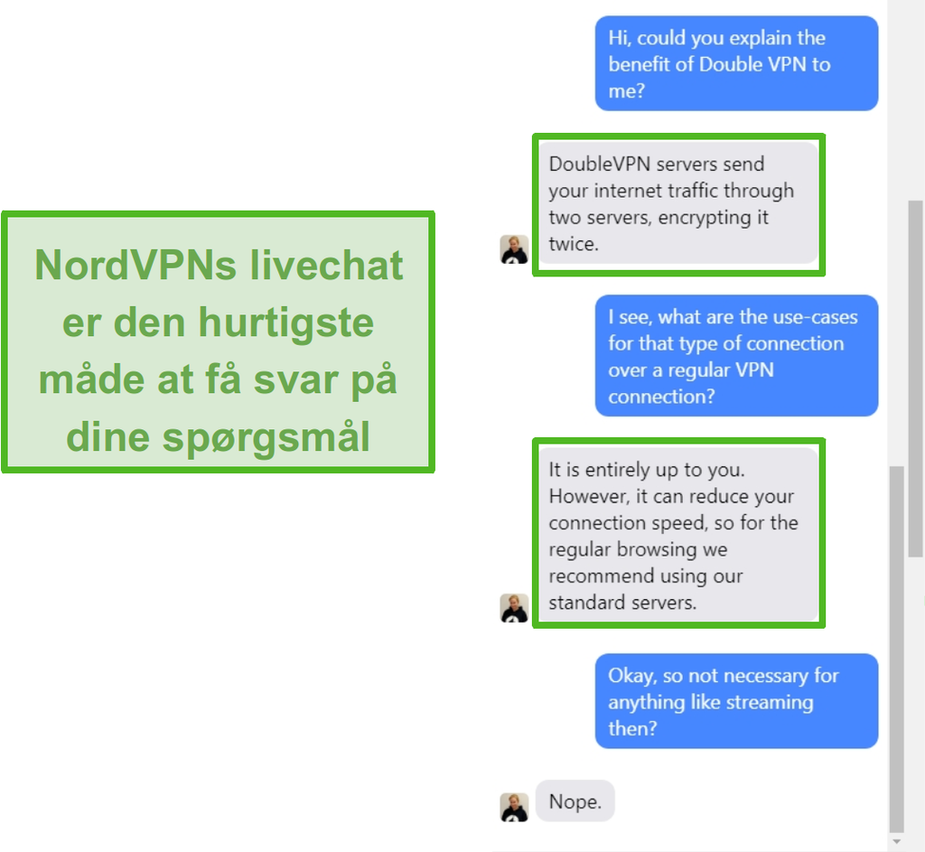 Skærmbillede af NordVPN live chat assistance.