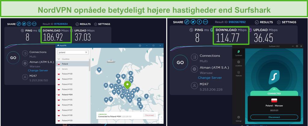 Skærmbillede af NordVPN og Surfshark, der kører en hastighedstest med flere forbindelser.