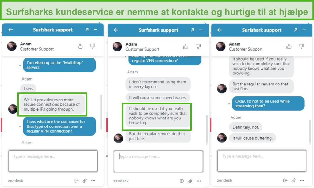 Skærmbillede af Surfshark live chat assistance.