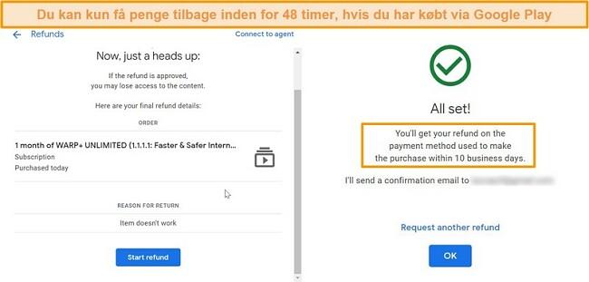 Screenshots af WARP Googles refusionsproces