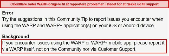 Skærmbillede af Cloudflares WARP-kundesupportoplysninger, der informerer brugerne om kun at bruge appen til supportproblemer.