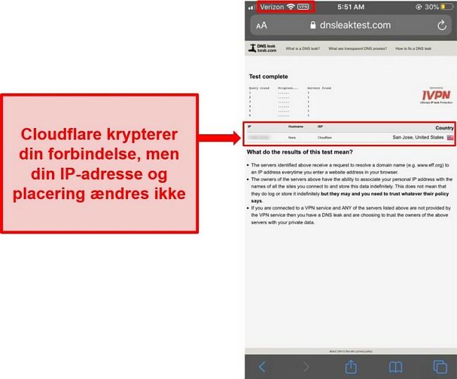 Skærmbillede af Cloudflares WARP IP- og DNS-lækagetestresultat - det gik ikke, da det ikke erstatter brugernes adresser.