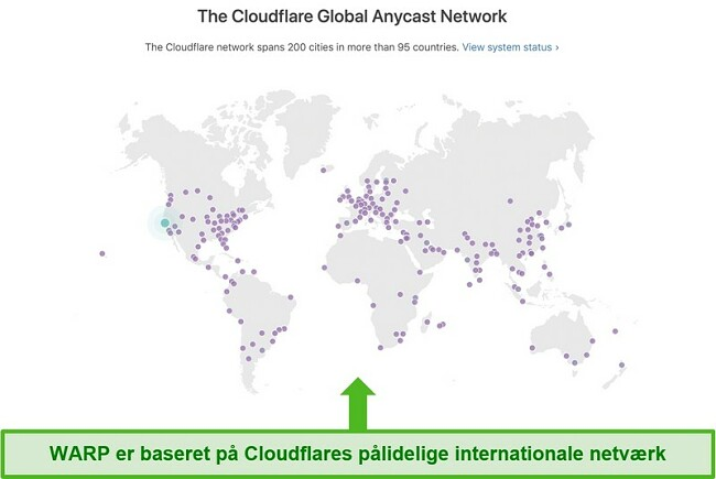 Skærmbillede, der viser Cloudflare, Warps moderselskab, globale netværk og hvordan det øger hastigheden på WARP