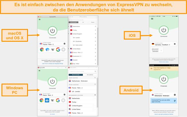 Vergleich der Benutzeroberfläche und des Layouts der ExpressVON-App für MacOS, OS X, iOS, Windows und Android