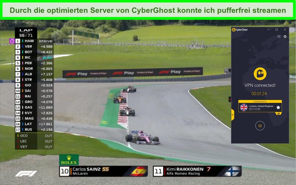Screenshot von F1-Live-Streaming und CyberGhost, die mit einem britischen Server verbunden sind.