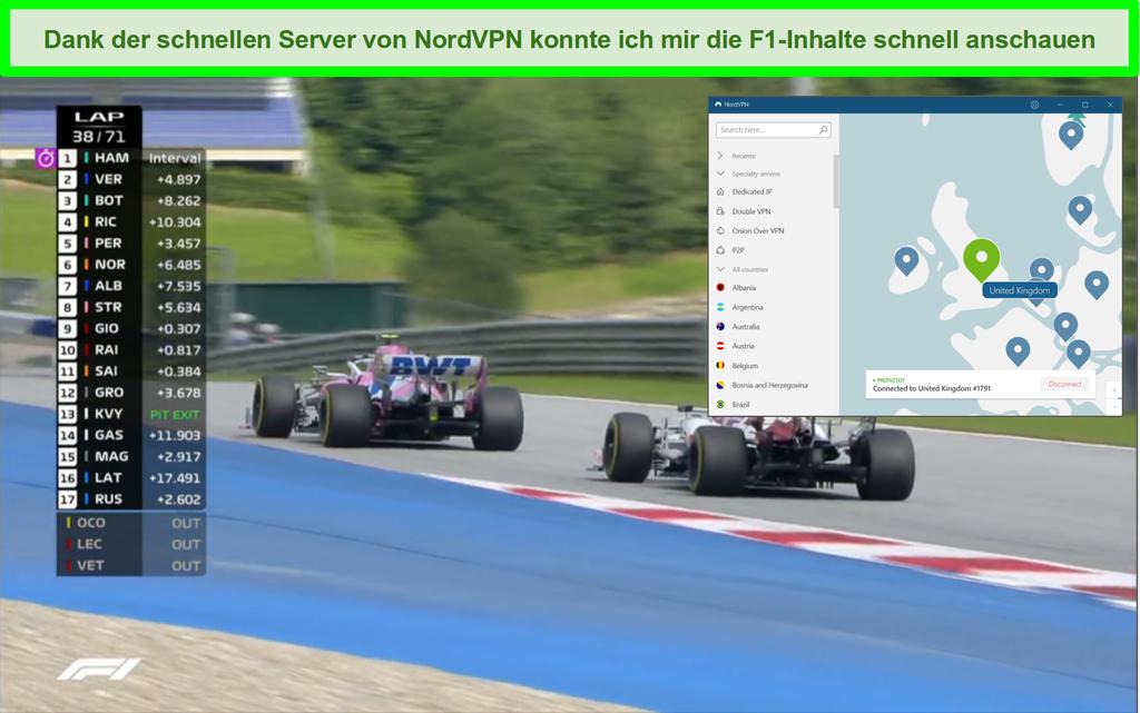Screenshot des F1-Renn-Streamings mit NordVPN, das mit einem britischen Server verbunden ist.