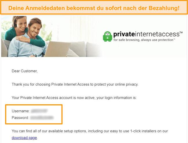 Screenshot der Privaten Internet-Zugangsbestätigungsbestätigungs-E-Mail mit Login-Daten enthalten