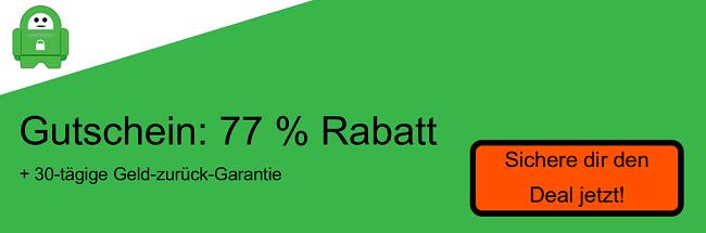 Screenshot des Coupons 77% Rabatt auf privaten Internetzugang