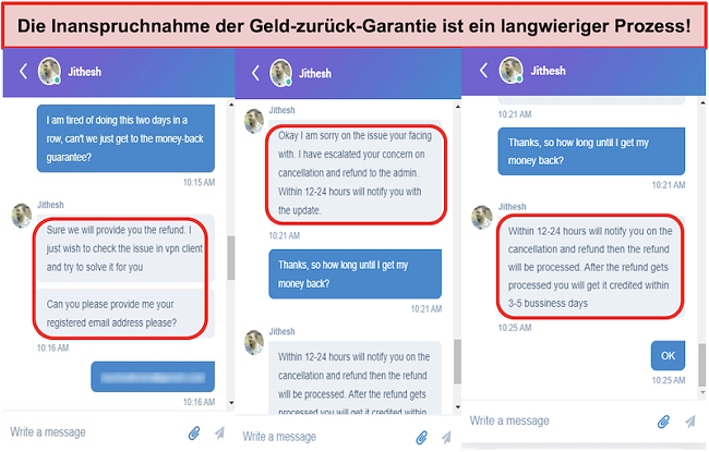 Screenshot von Claiming the money-back guarantee is a lengthy process!