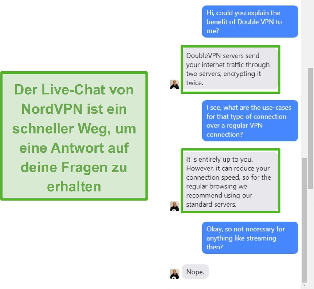 Screenshot der NordVPN Live-Chat-Unterstützung.