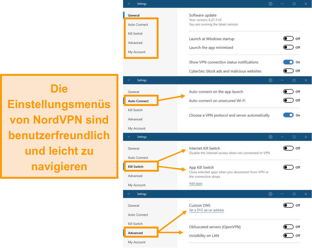 Screenshot der Desktop-Menüs von NordVPN.