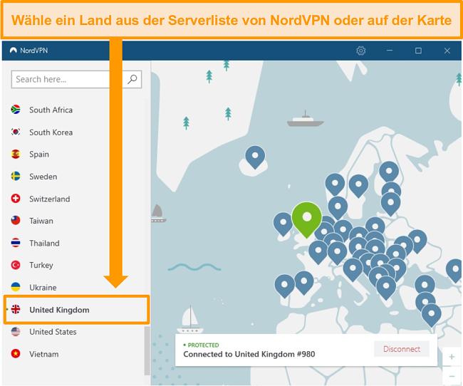 Screenshot von NordVPN, das mit einem britischen Server verbunden ist.