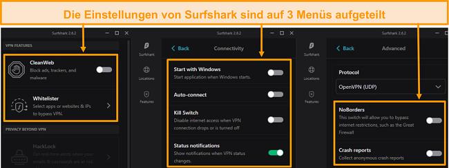 Screenshot der Desktop-Menüs von Surfshark.