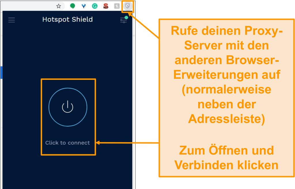 Screenshot der kostenlosen Proxy-Browser-Erweiterung von Hotspot Shield