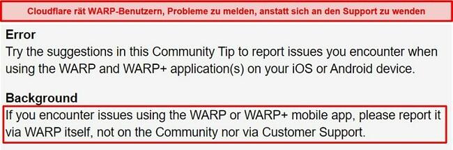 Screenshot der WARP-Kundensupportinformationen von Cloudflare, in denen Benutzer informiert werden, die App nur für Supportprobleme zu verwenden.