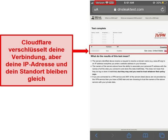 Screenshot des WARP IP- und DNS-Lecktestergebnisses von Cloudflare - es wurde nicht bestanden, da es die Benutzeradressen nicht ersetzt.