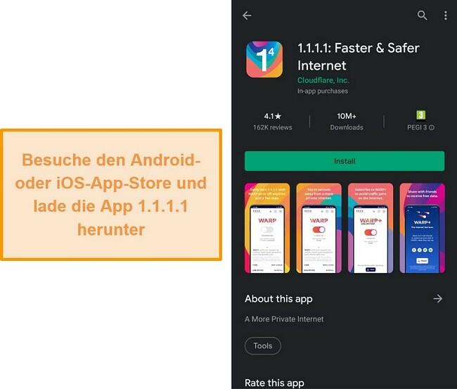 Screenshot des 1.1.1.1 des Mobile App Store.