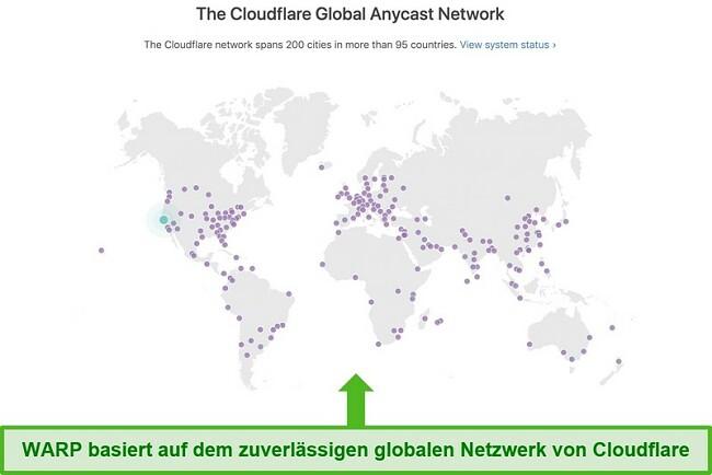 Screenshot zeigt Cloudflare, die Muttergesellschaft von Warp, das globale Netzwerk und wie es die Geschwindigkeit von WARP erhöht