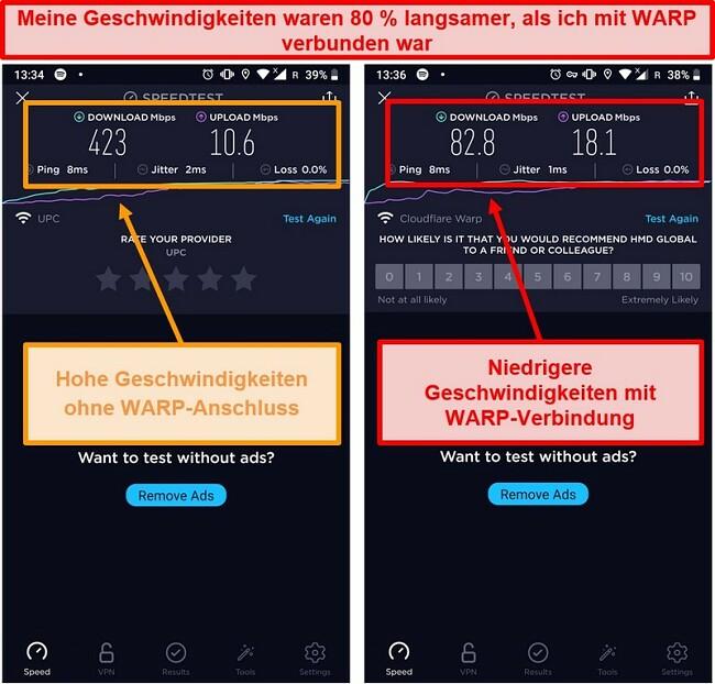 Screenshot eines Geschwindigkeitstests mit um 80% langsameren Geschwindigkeiten mit WARP