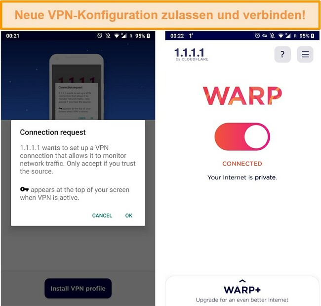 Screenshot der WARP VPN-Konfigurationen, die auf einem iPhone eingerichtet werden sollen
