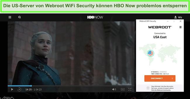 Screenshot von HBO Jetzt wird Game of Thrones gespielt, während eine Verbindung zu einem Server in den USA besteht