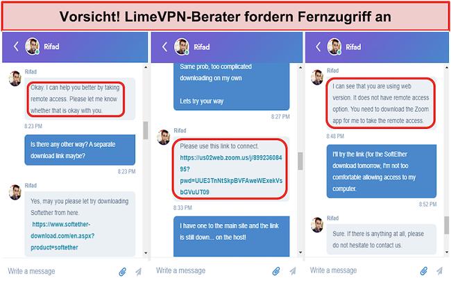 Screenshot von Beware! LimeVPN agents request remote access