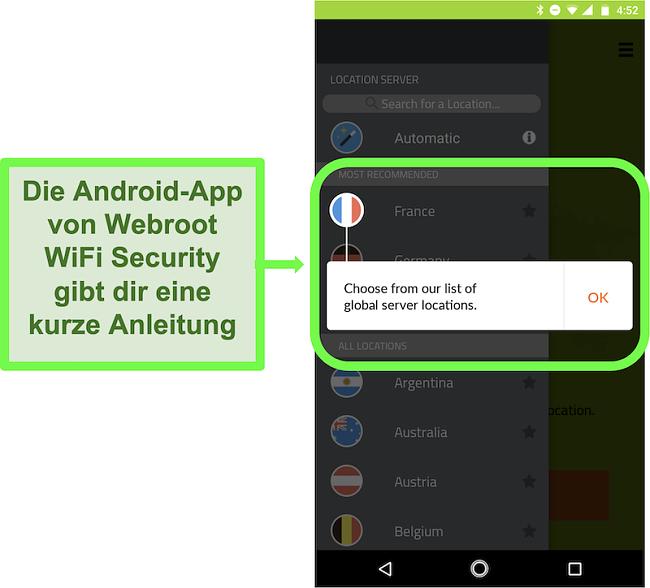 Screenshot der Android-App von Webroot WiFi Security mit einem Benutzer-Tutorial